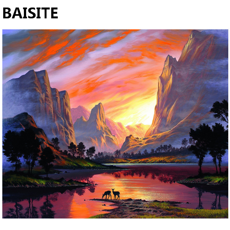 Baisite Frameless Diy Oil Painting Pictures By Numbers On Canvas Wall Pictures Wall Art For Living Room Home Decoration 977