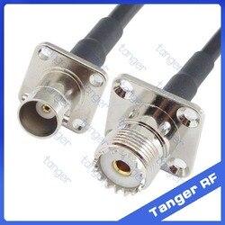 Gorąca BNC gniazdo żeńskie 4 pinowe panelu z czterema otworami do gniazda żeńskiego UHF 4 otwór panel prosto RF RG58 Pigtail Jumper kabel koncentryczny 20 cal 50 cm w Złącza od Lampy i oświetlenie na