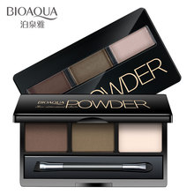 BIOAQUA 3 Color Eyebrow Powder Palette Cosmetic Eyes Makeup Shading Brush Mirror Box Eyebrow Enhancer Beauty
