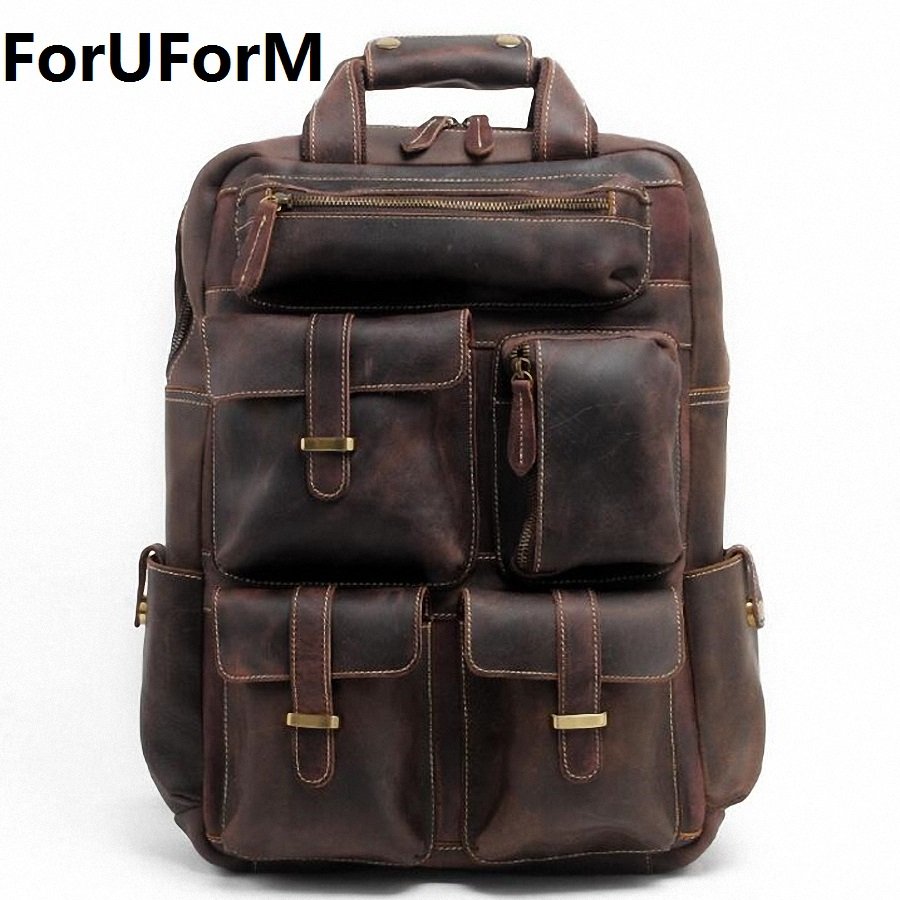 New 2017 Men's Genuine Leather Backpack Men crazy horse leather laptop School Backpack Book bag Cowhide Travel Backpack LI-1207 new arrival 2016 classic vintage men backpack crazy horse genuine leather men bag travel cowhide backpacks school bags li 1320