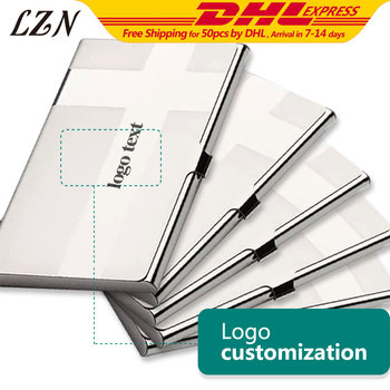 LZN Business Name Credit ID Card Holder Box Stainless Steel Metal Pocket Box Case Free Personalize Name/Text/Logo as Advertising