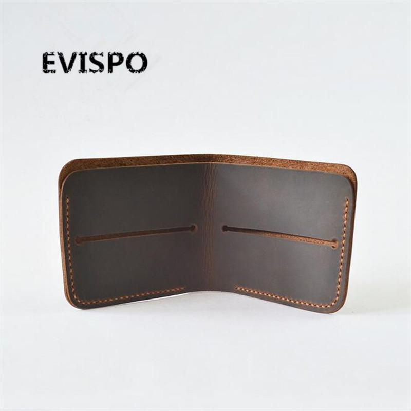 Handmade High Quality Vintage Designer 100%Genuine Crazy Horse Cowhide Leather Men Short Wallet Purse Male With Coin Pocket