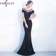 Robe De Soiree YIDINGZS Elegant Backless Long Evening Dresses Simple Black Sequins Evening Party Dress(China)