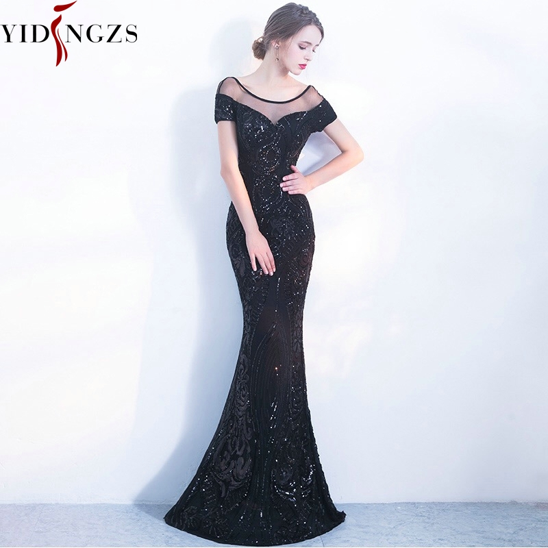 גלימת דה Soiree YIDINGZS אלגנטי ללא משענת ארוך ערב שמלות פשוט שחור פאייטים ערב המפלגה שמלה
