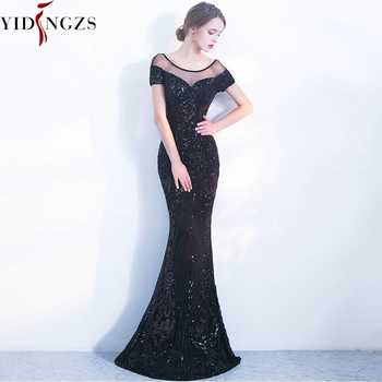 YIDINGZS Elegant Backless Long Evening Dresses Simple Black Sequins Evening Party Dress YD100 - DISCOUNT ITEM  65% OFF All Category