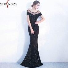 YIDINGZS אלגנטי ללא משענת ארוך ערב שמלות פשוט שחור פאייטים ערב המפלגה שמלת YD100