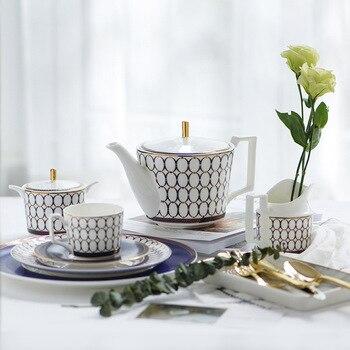 European Home Bone China Teapot Coffee Pot Sugar Pot Milk Pot Restaurant Ceramic Afternoon Tea Cup Saucer