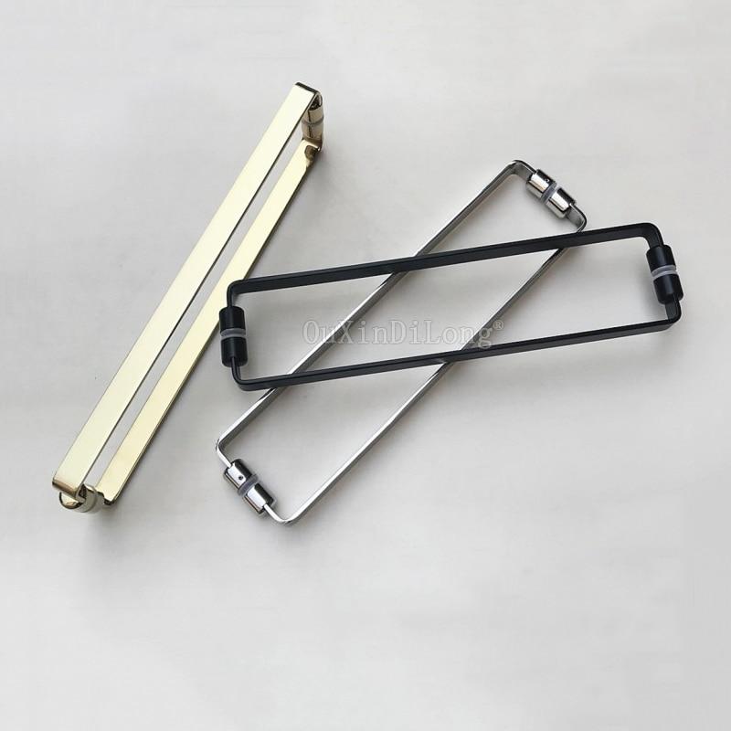 1PCS Solid 304 Stainless Steel Bathroom Handles Polish Chrome/Golden/Dumb Black Shower Room Glass Door Handle C C:440mm JF1805