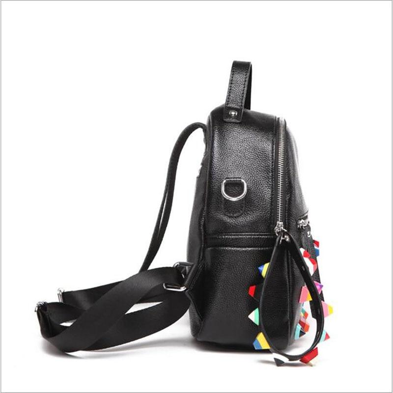 Free Shipping 2017 Fashion Rivet Women Bag Big Capacity Hit Colors Personality Backpack Chromatic Strap Hand bag 2 S