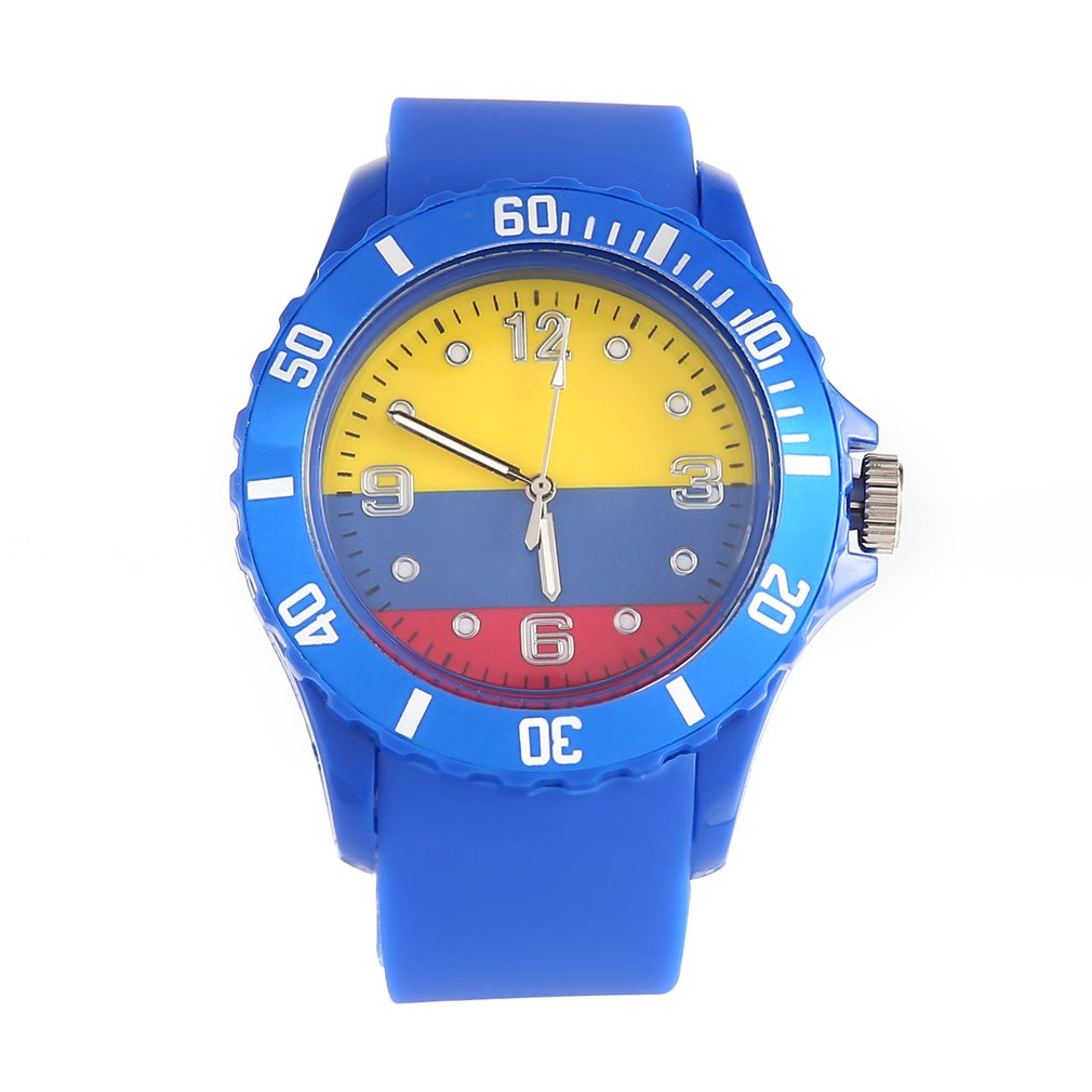 Colombian Flag Pattern Stylish Silicone Quartz Wristwatch Adjustable Unisex Casual Watch Sports Watches