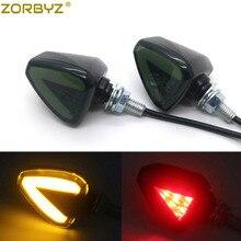 ZORBYZ Универсальный черный мотоцикл светодиодный Янтарный фонарь со стрелкой Задний сигнал поворота, стоп-сигналы Индикаторы Для Honda Suzuki Yamaha