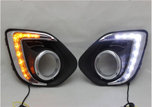 free shipping,Turn Signal Car LED DRL Daytime running light with fog lamp hole for Mitsubishi ASX 2013 2014 2015