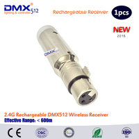 Free Shipping 2016 Rechargeable 2 4G ISM Wireless DMX512 XLR Receiver Unit LED Lighting For Stage