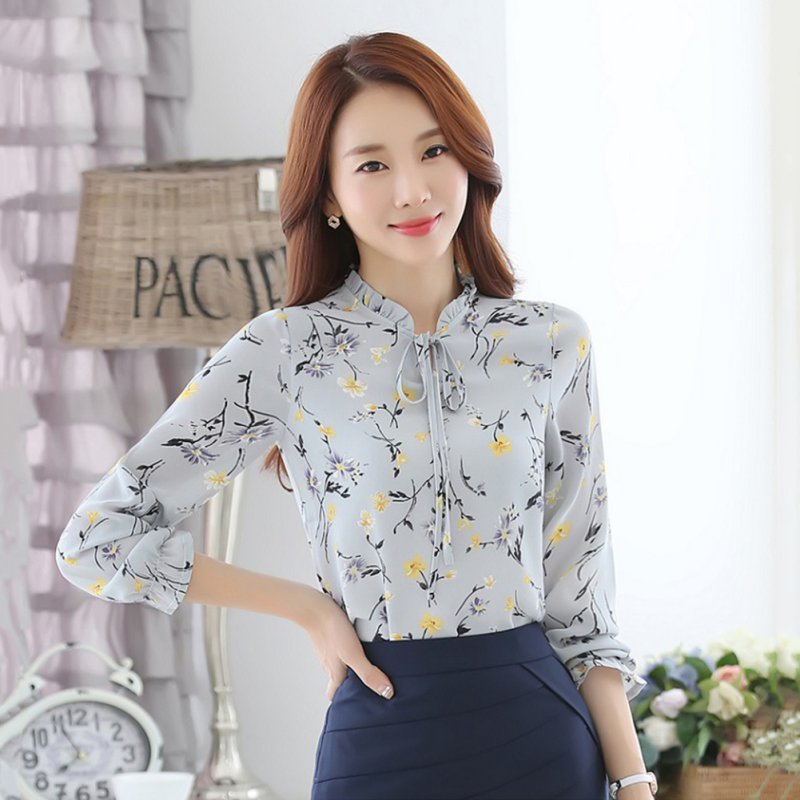 Women Long Sleeve Blouse Floral Print Casual Office Work Lady Loose Chiffon Shirt