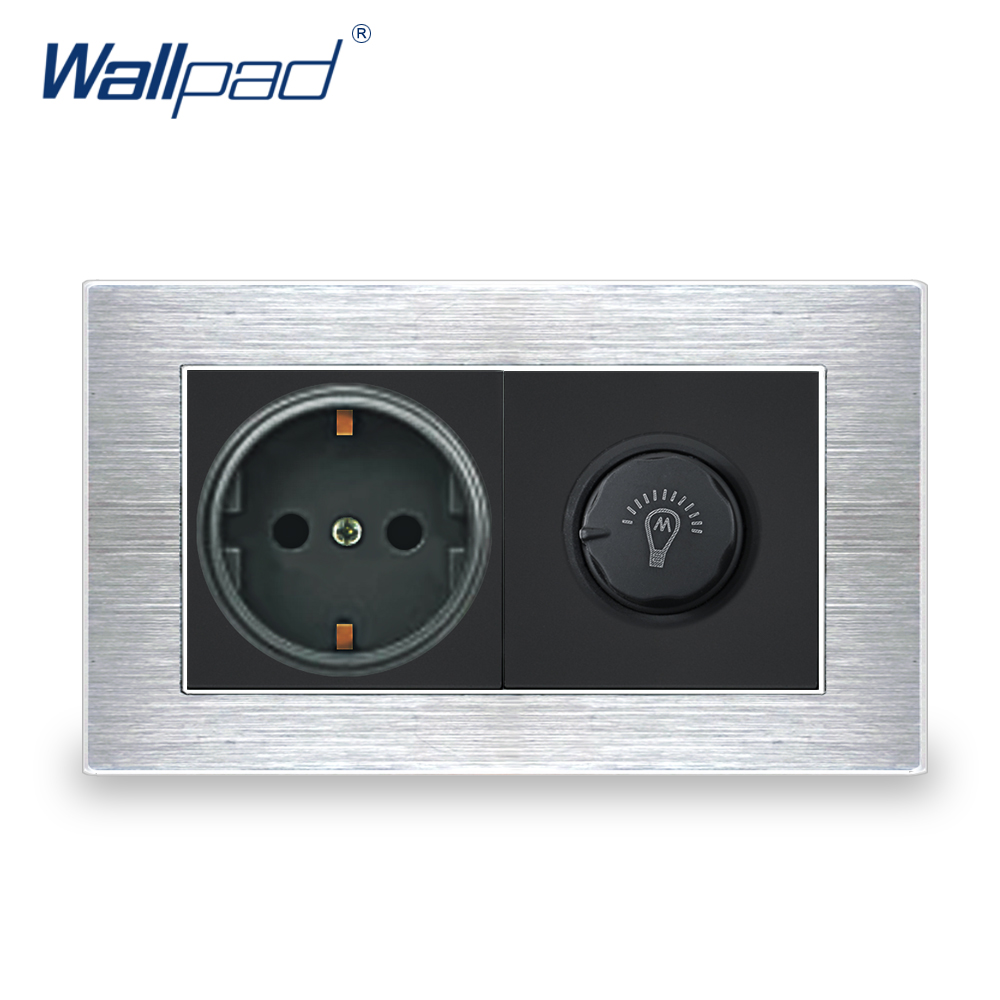 цена на EU German Socket With Dimmer Switch Wallpad Luxury Wall Light Switch Satin Metal Panel With Silver Border 146*86mm Power Outlet