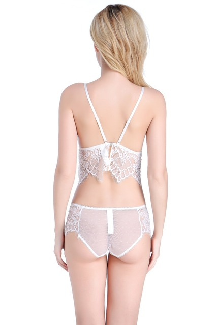 Pretty Mary Women Transparent Lace Bra and Panties