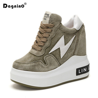DAGNINO Women 12 Cm High Heels Boots Lace Up Casual Shoes Height Increasing Platform Ankle Boots