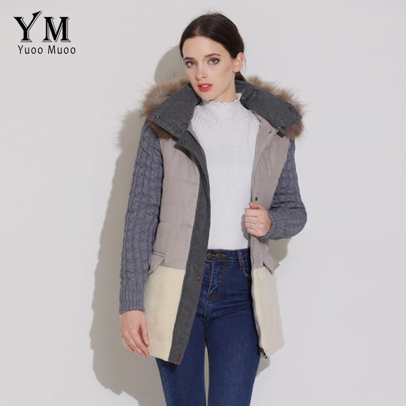 YuooMuoo High Quality Natural Fur Collar Winter Coat Women Warm Parkas Wool Patchwork Jacket Fashion Parkas