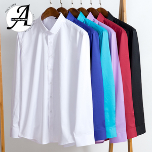 Image 5 - Alimens & Gentle Mens bamboo fiber easy care non iron long sleeve dress shirt plus size 8XL 7XL 6XL color white black red purple