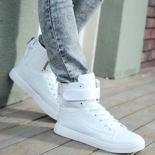 2016 Spring Fashion Men Casual Shoes Hip Hop Leather High-top Outdoor Shoes  Gold Silver White Black Zapatos Hombe Plus size 46 09beca15667d