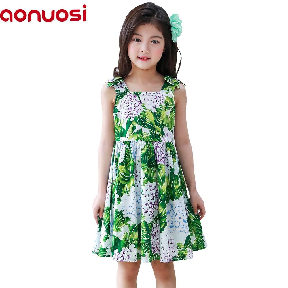 68ae56e11884b Enfants filles robes Vêtements Aonuosi Pur coton Dos nu robe Princesse vert  Costume Bébé Fille Vêtements d été Adolescents