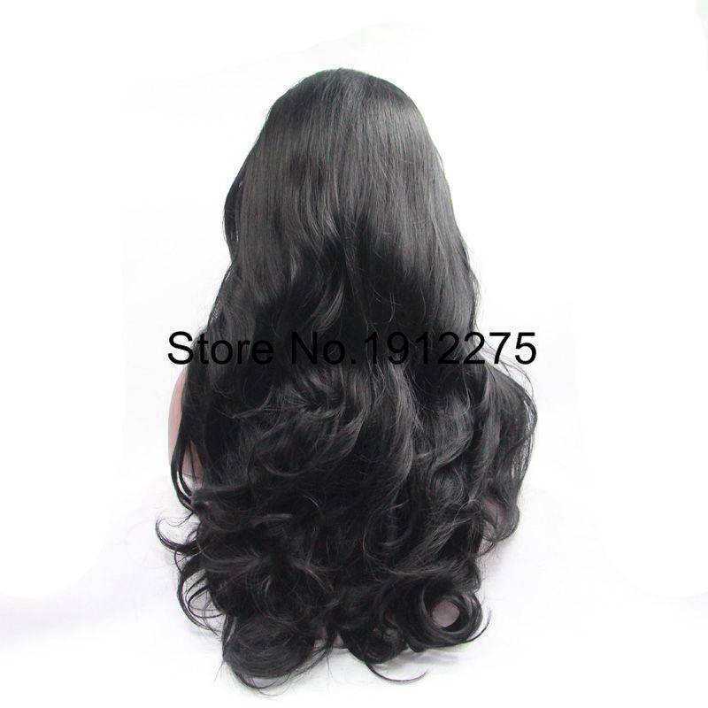 Sylvia Long Black Body Wave Hair Side Bangs 1B Synthetic Lace Front Wig For Black Women Heat Resistant Hair Wig Half Hand Tied