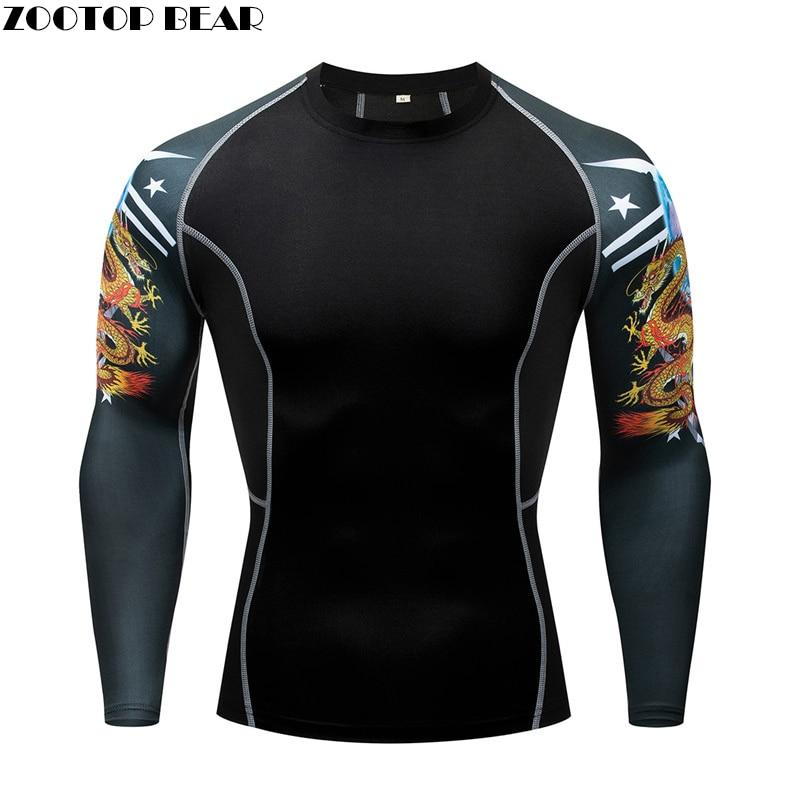 Dragon Print 3D Fitness T Shirt Gym Shirt Men Compression Tight Top Bodybuilding Quickdry Tshirt Batman Soccer Basketball Jersey
