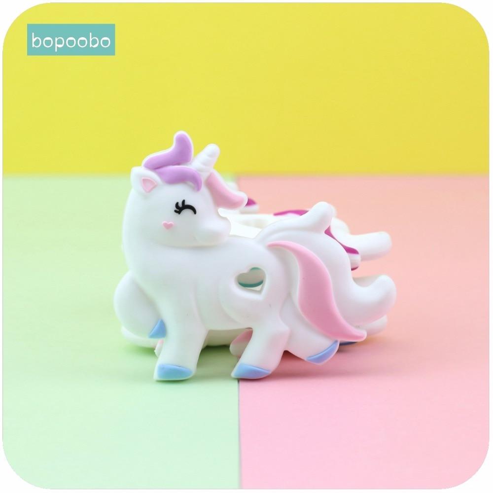 все цены на Bopoobo 1pc Baby Teething Accessories Silicone Unicorn Food Grade Crib Sensory Toys DIY Jewelry Nursing Accessories Baby Teether онлайн