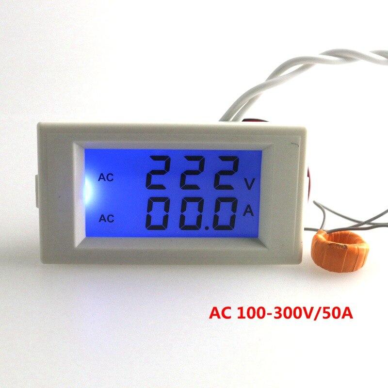 Azul LCD Digital AC voltímetro amperímetro AC 100-300 V 50A/100A voltios metro del voltaje actual Ampere panel metros