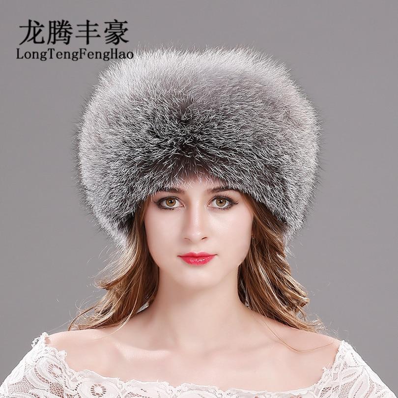 Fox Fur beanies 100% Real Fox Fur Hat Top Genuine