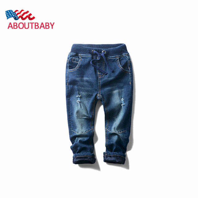 Bebê Meninos Calças de Brim 2016 Novas Crianças Selvagem Espessamento Elástico Fino Jeans Calças Jeans Da Moda Outono Inverno Crianças Jeans Para Meninos