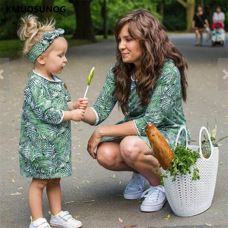 Family-Matching-Outfits-Floral-Dress-Mother-Daughter-Dresses-Ladies-Dresses-Kids-Clothes-Mom-Daughter-Clothes-Family