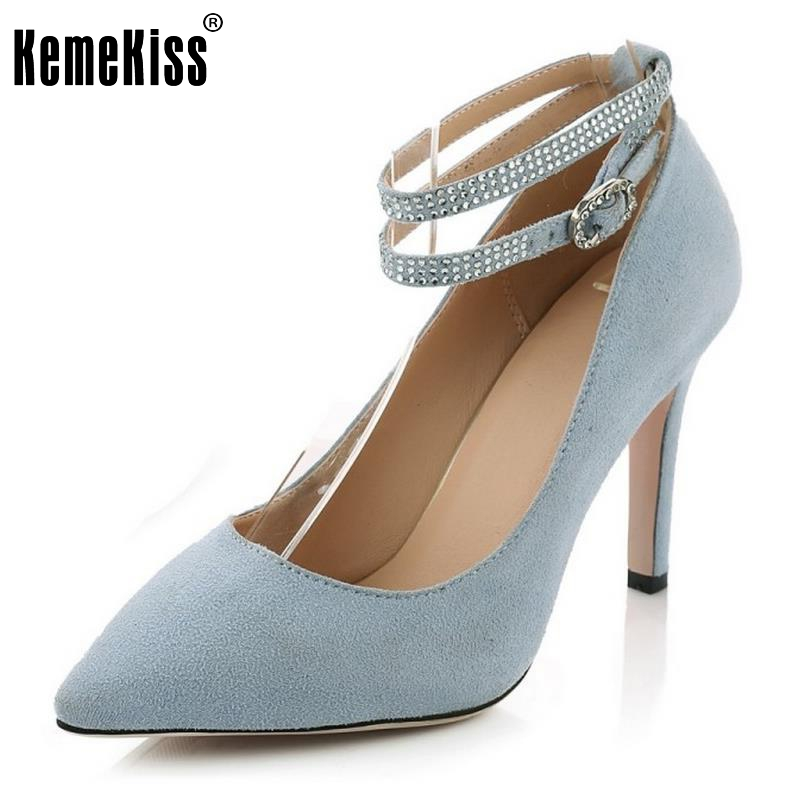 2017 hot women metal strappy pumps sandals high heels wedding shoes stiletto ladies pointy toe high heeled ankle strap shoes Ladies Real Leather High Heels Shoes Women Ankle Strap Pointed Toe High Heeled Pumps Sexy Wedding Party Footwears Size 34-39