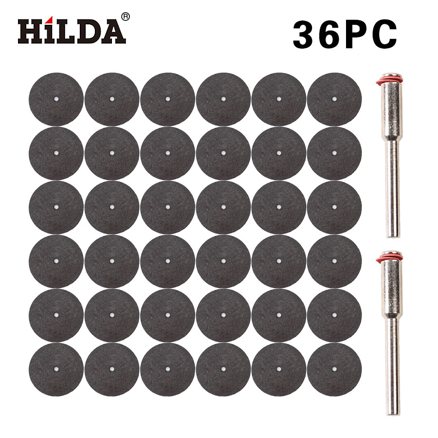 HILDA 36pcs Resin Cutting Disc Kit For Dremel Rotary Hobby Tool Bit Dremel Accessories Plus 2 Pcs Mandrel