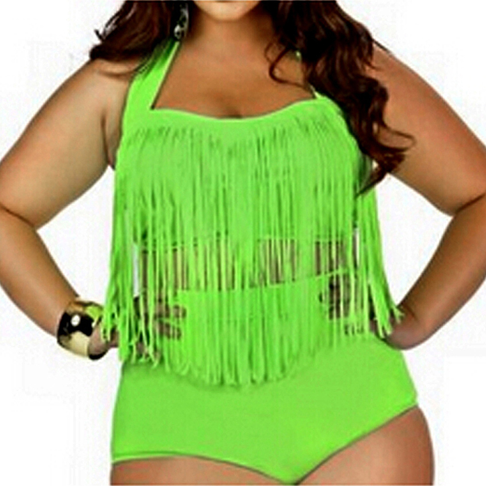 PLUS SIZE Big and Beautiful Womens Retro Fringe Tassel High Waisted Bikini Push Up Bandeau Rockabilly Swimwear Swimsuit Green L. pinup rockabilly special retro atmosphere beautiful generous banquet hoop rabbit ear