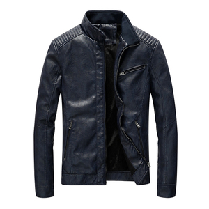 Image 4 - Chaqueta de cuero de poliuretano para hombre, chaqueta ajustada informal para motocicleta, con cuello levantado, envío directo ABZ174
