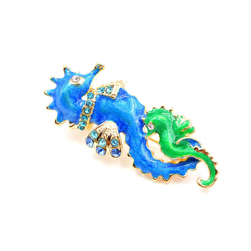 CINDY XIANG New Arrival Blue and Green Color Seahorse Brooches for Women Cute Enamel Sea Animal Brooch Pin Fashion Jewelry Gift