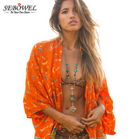 SEBOWEL 2017 Summer Bikini Cover Up Orange Boho Fashion Chiffon Print Kimono Women Sexy Swimsuit Cover