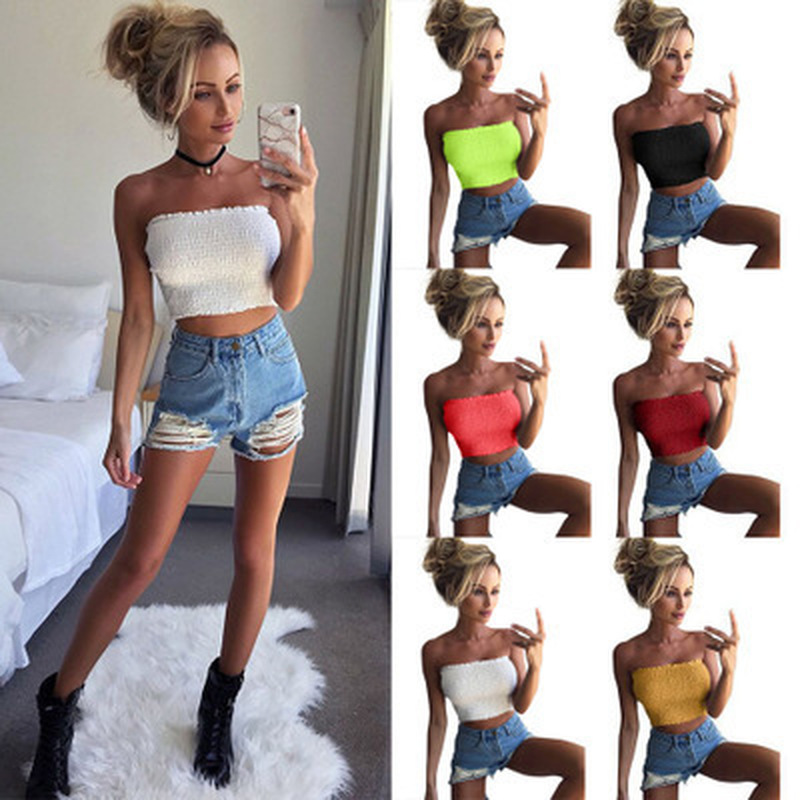 Sexy Lady Solid Ruffle Tube Tops Intimates Women Strapless Ruched Elastic Boob Bandeau Bra Lingerie Underwear Wrap Crop Tops