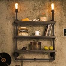 цена на American Waterpipe Bookshelf Wall Lights Fixture European Country Industrial Water Pipe Wall Lamps Home Indoor Lighting 3 Layers