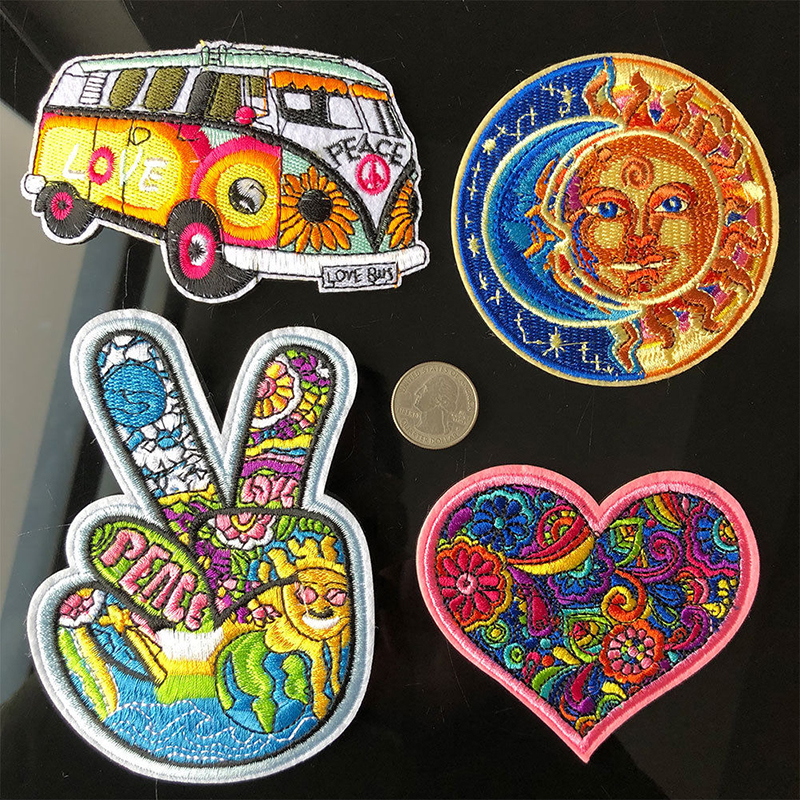 4Pcs Sticker For Clothes Applications Patches DIY Hippie Love Bus Flowers Peace Patch Art Embroidered Iron Sew On Applique