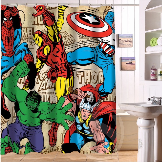 Custom Deadpool Anime Marvel Hulk 6 Fabric Modern Shower Curtain Bathroom Waterproof Bath LRM