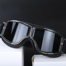 Latest Vintage Leather Motorcycle Goggles Collapsible Harley Glasses Jet Pilot 4 Color Sunglasses