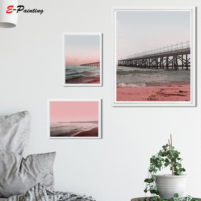 Modern Canvas Painting Beach Wall Art Print Sunset Pink Coastal Photography Printable Ocean Water Waves Poster Living Room Decor