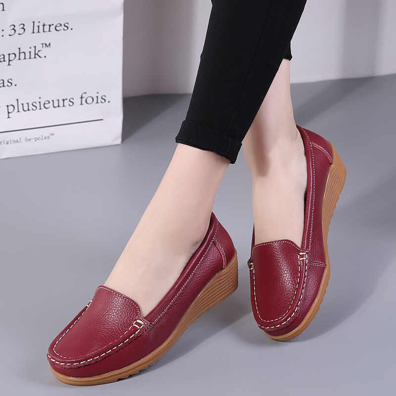 Women Flats 2019 Genuine Leather Shoes Wedge Heels Women Loafers Ballet Flat Shoes Platform Spring Summer Chaussures Femme 4.3CM