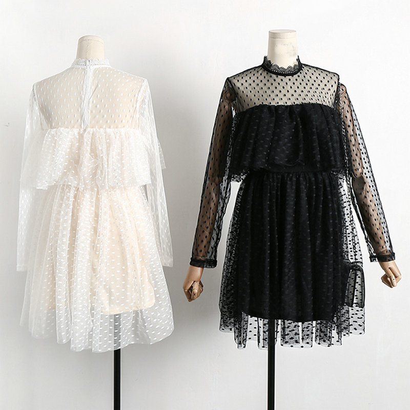 2018 spring new female lace dresses women's stand collar dot mesh ruffles high waist dress women long sleeve dress 1