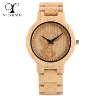 YISUYA Elk Deer Head Unique Bamboo Wooden Watches Natural Steampunk Style Fashion Full Wood Strap Wrist