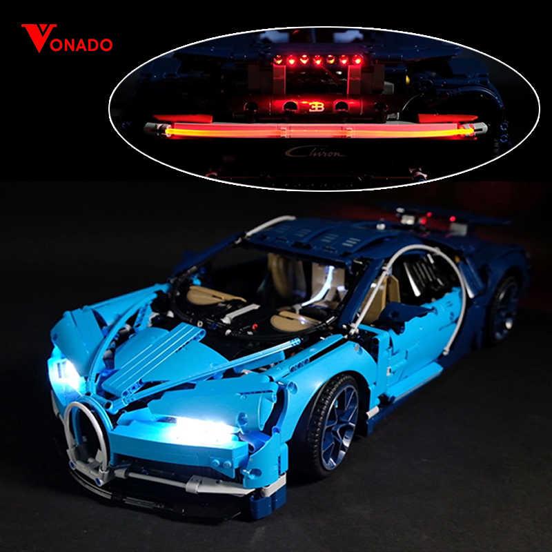 Led światło dla obsługi Lego 42083 Bugatti Chiron kompatybilny 20086 technic samochód wyścigowy klocki zabawki prezenty (tylko światło + opakowanie na baterie)
