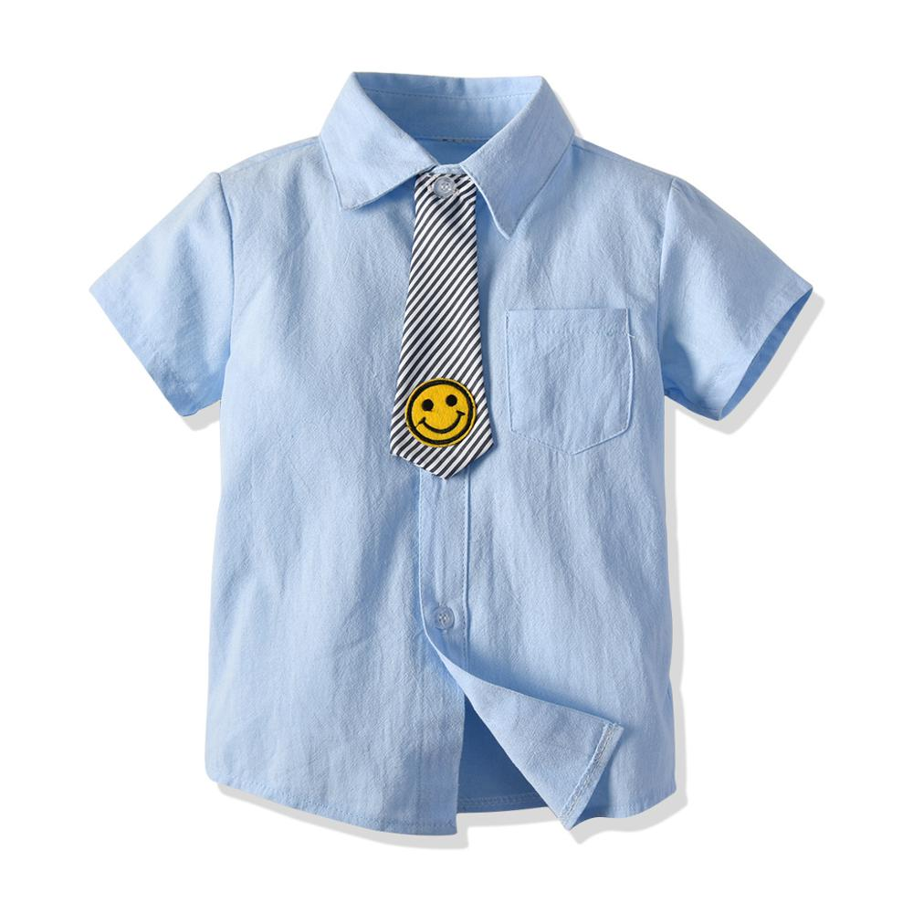 Boys Short Sleeve Shirt Summer Kids Blouses Children Clothes Baby Boys Casual Cotton Solid Shirt White BlueBoys Short Sleeve Shirt Summer Kids Blouses Children Clothes Baby Boys Casual Cotton Solid Shirt White Blue