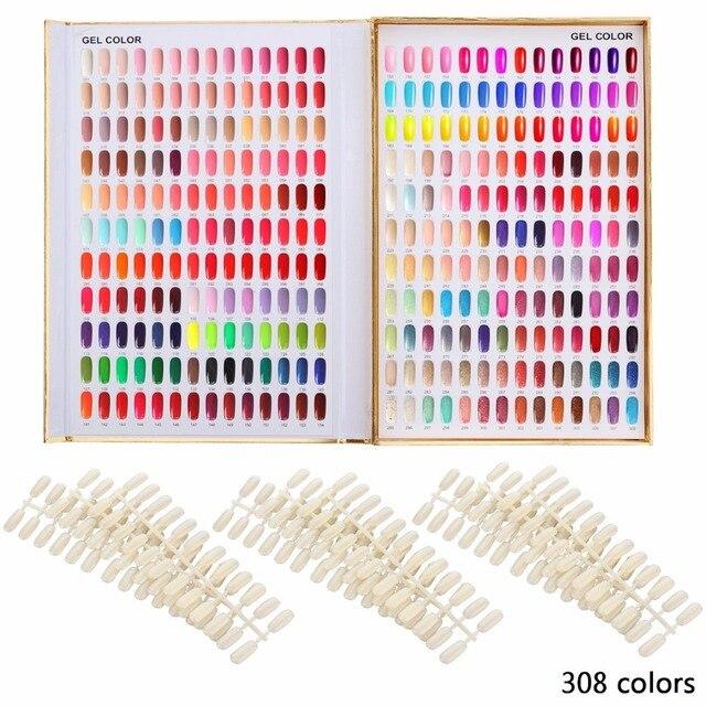 10 Pcs Set Golden 308 Color Gold Nail Polish Chart Book Art Equipment